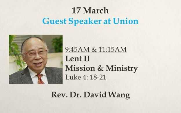 17 March 2019 Sermon Title - 9:45AM & 11:15AM