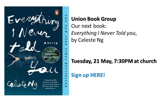 Union Book Group - 21 May meeting