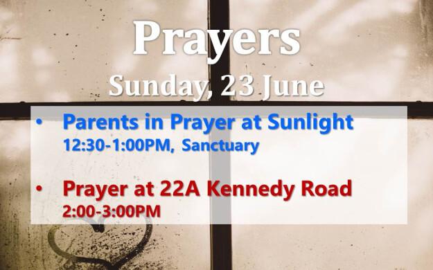 Prayers on Sunday,  23 June