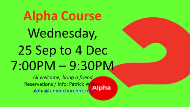 Alpha Course - 25 Sept to 4 Dec
